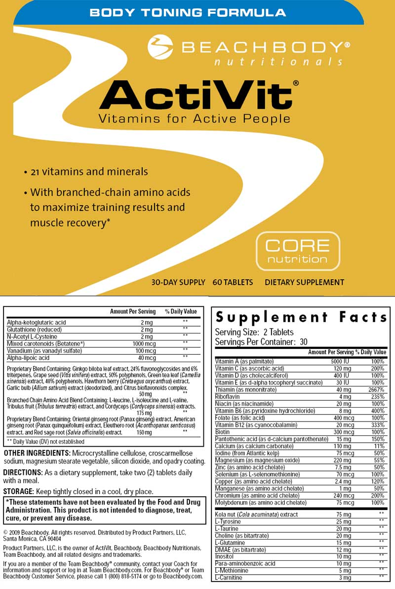 ActiVit Body Toning formula, vitamins, beachbody, supplement